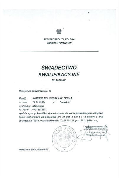 Certyfikat Księgowy Ministerstwa Finansów