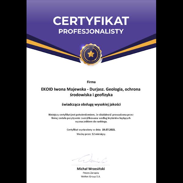 Certyfikat Profesjonalisty